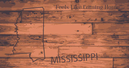 motto: Mississippi state map brand on wooden boards with map outline and state motto Illustration