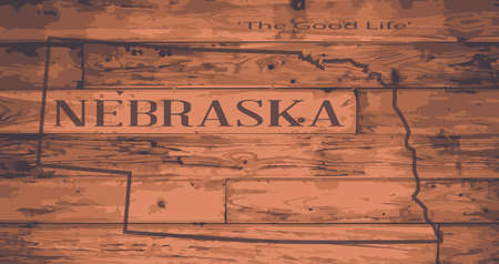 Nebraska state map brand on wooden boards with map outline and state motto Illustration