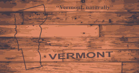 motto: Vermont state map brand on wooden boards with map outline and state motto