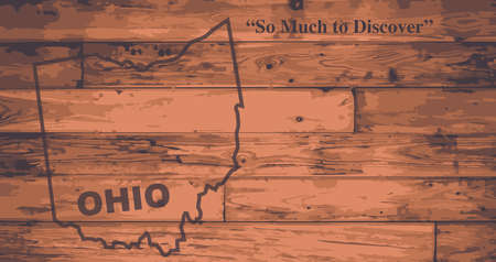 motto: Ohio state map brand on wooden boards with map outline and state motto Illustration