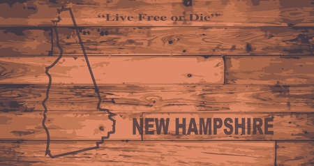 New Hampshire state map brand on wooden boards with map outline and state motto