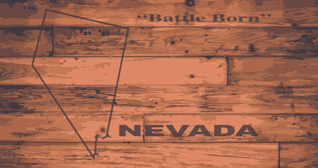 motto: Nevada state map brand on wooden boards with map outline and state motto
