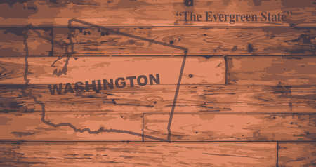 woodgrain: Washington state map brand on wooden boards with map outline and state motto