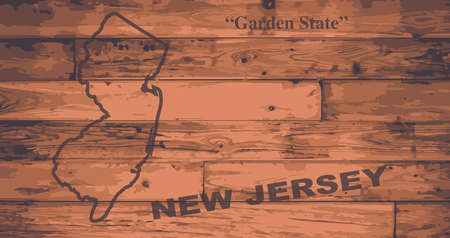 motto: New Jersey state map brand on wooden boards with map outline and state motto