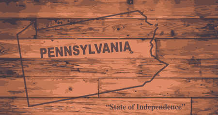 motto: Pennsylvania state map brand on wooden boards with map outline and state motto Illustration