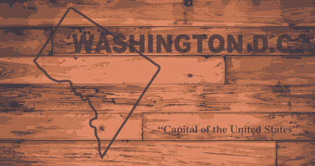 motto: Washington D.C. state map brand on wooden boards with map outline and state motto
