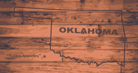 woodgrain: Oklahoma state map brand on wooden boards with map outline and state motto