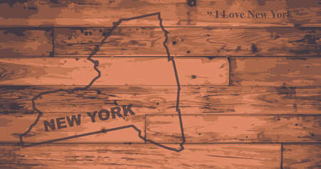new york state: New York state map brand on wooden boards with map outline and state motto
