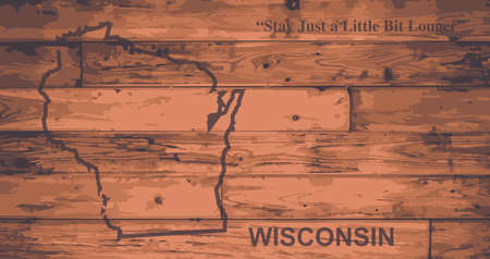 motto: Wisconsin state map brand on wooden boards with map outline and state motto