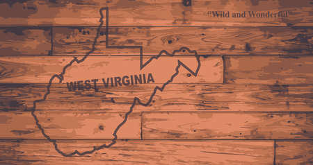 motto: West Virginia state map brand on wooden boards with map outline and state motto
