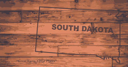 woodgrain: South Dakota state map brand on wooden boards with map outline and state motto