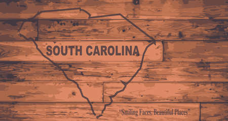 motto: South Carolina state map brand on wooden boards with map outline and state motto Illustration