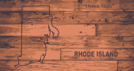 island state: Rhode Island state map brand on wooden boards with map outline and state motto