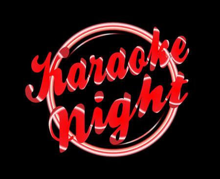 florescent light: Karaoke night florescent light over a black background