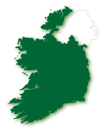 eire: A silhouette map of Eire or Southern Ireland in green over white with a faded outline of Northern Ireland Illustration
