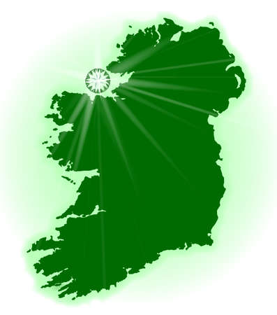 eire: Silhouette of Eire the emerald isle woth reflecting emerald gemstoneover a white background