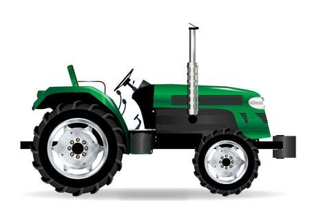 farmyard: A typical modern farmyard tractor over a white background