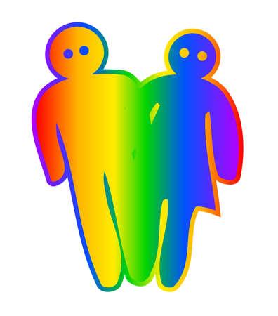 transexual: A los personajes de dibujos animados de estilo masculino y femenino con el arco iris por lo general asociados con transexual y la homosexualidad