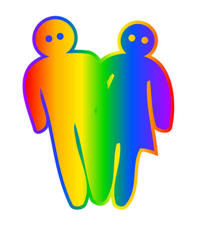 associated: A male and female cartoon style characters with the rainbow usually associated with transsexual and homosexuality Illustration