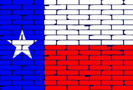 texan: The Texan flag painted on a brick wall as a background