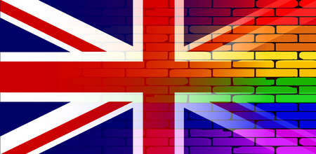 union jack flag: A well worn wall painted in a gay rainbow with a Union Jack flag