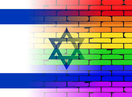 israeli flag: A well worn wall painted in a gay rainbow with the Israeli flag Illustration