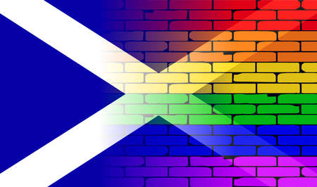 scot: A well worn wall painted in a gay rainbow with the Scotland flag