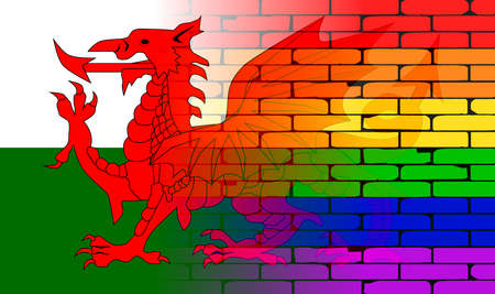 welsh flag: A well worn wall painted in a gay rainbow with the Welsh flag