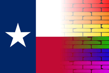 texan: A well worn wall painted in a gay rainbow with the Texan flag