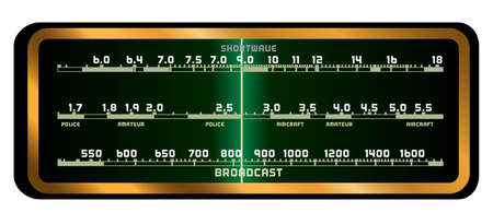 fashioned: The screen of a typical old fashioned valve radio over a white background Illustration