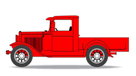 early: An early old fashioned pickup truck over a white background