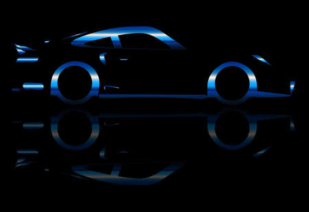 accelerating: A blue flash fast car in silhouette with speed blur over black