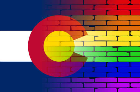 colorado flag: A well worn wall painted in a gay rainbow with the Colorado flag