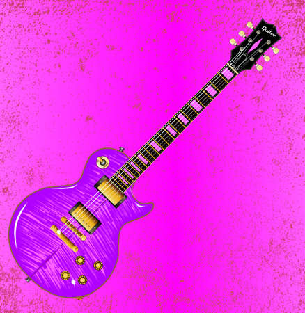 feline: A pink feline electric guitar with grunge style background Illustration