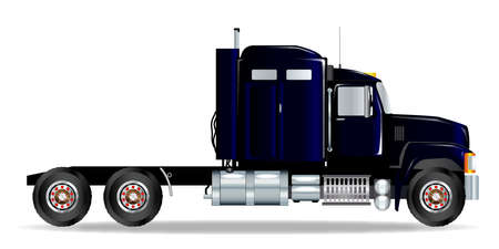 hauler: The front end of a large lorry over a white background