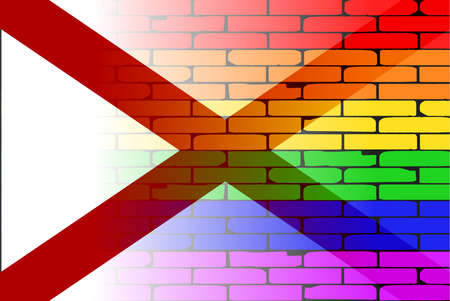 alabama state: A well worn wall painted in a gay rainbow with the Alabama state flag Illustration