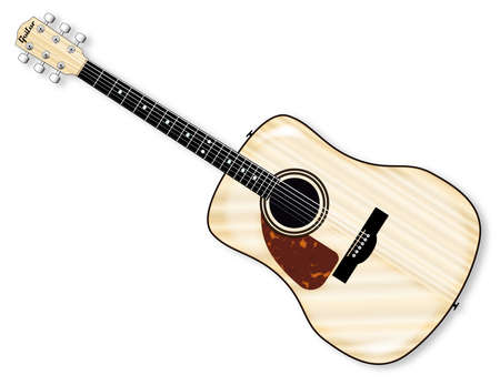 fingerboard: A typical left handed acoustic guitar isolated over a white background.