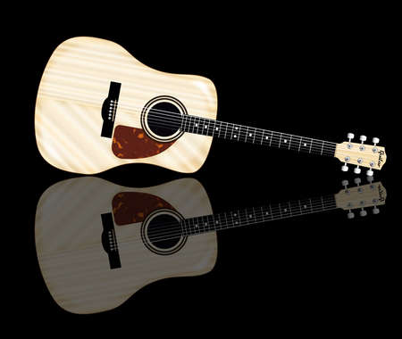 frets: A typical acoustic guitar and reflection isolated over a white background.