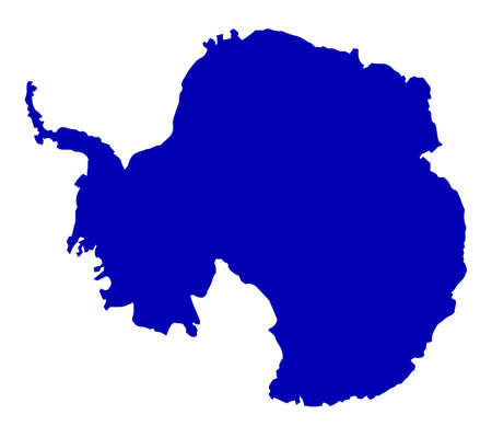 antarctic: Silhouette map of Antarctic over a white background