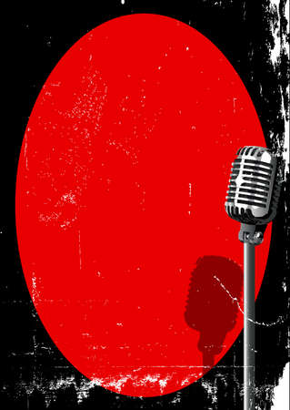 gig: A spotlight on a retro microphone over a red background with grunge FX