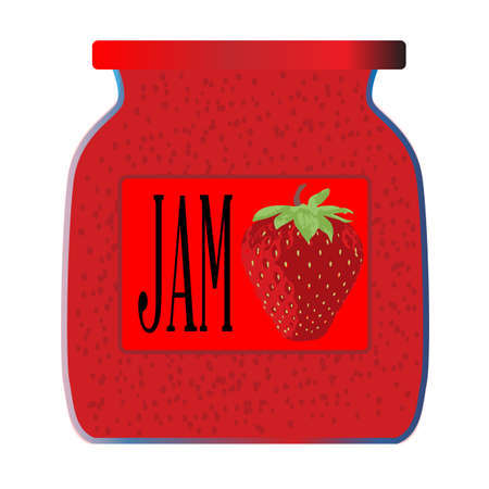 confiture: A jar of strawberry jam over a white background