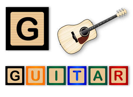 spells: G Is For Guitar text with sliced apple