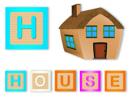 spells: H Is For House text with sliced apple Illustration