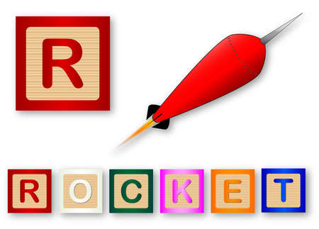r sliced: R Is For Rocket text with sliced apple