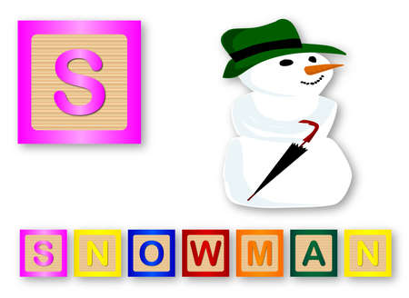 child s block: S Is For Snowman text with sliced apple