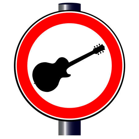 spoof: A large round red traffic displaying an electric guitar