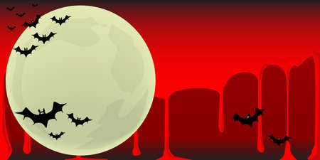 harvest moon: Vampire bats flying in formation across the fall moon against a blood run sky Illustration