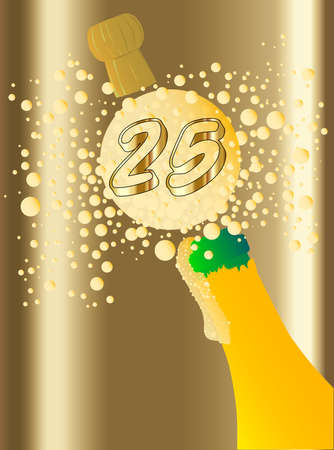 froth: Champagne bottle being opened with froth and bubbles with a large bubble exclaiming 10 Illustration