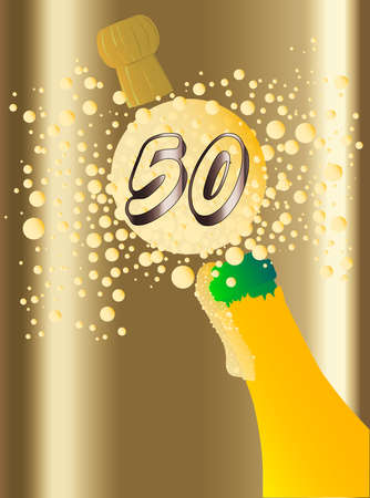 froth: Champagne bottle being opened with froth and bubbles with a large bubble exclaiming 50 Illustration