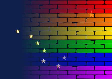 transexual: Una pared pintada bien nacido con un arco iris de LGBT con la bandera del estado de Alabama Vectores